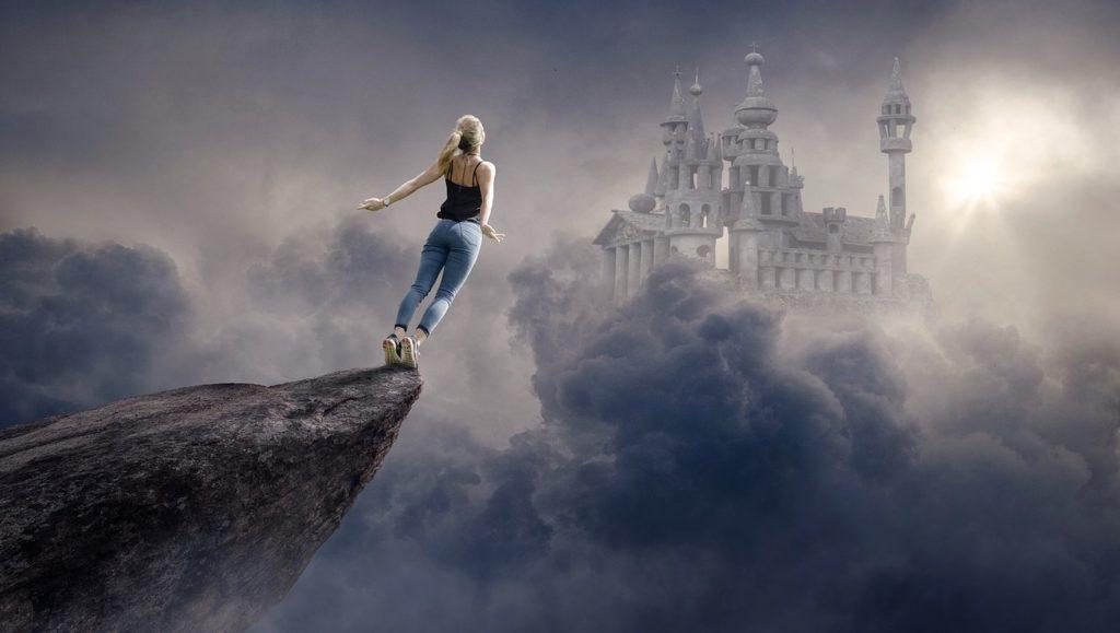fantasy, clouds, woman
