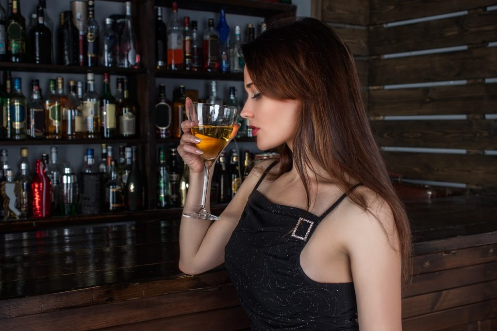 woman, model, cocktail